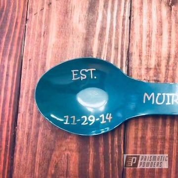 Spoon Rest Powder Coated In Miami Teal And Clear Vision