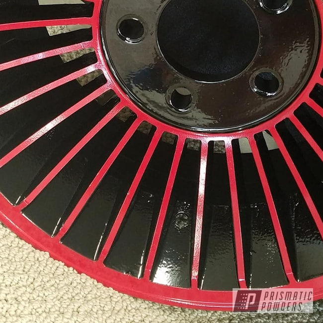 Powder Coating: Wheels,Automotive,2 Color Application,Custom Wheels,Ink Black PSS-0106,RAL 3002 Carmine Red,Aluminum Rim