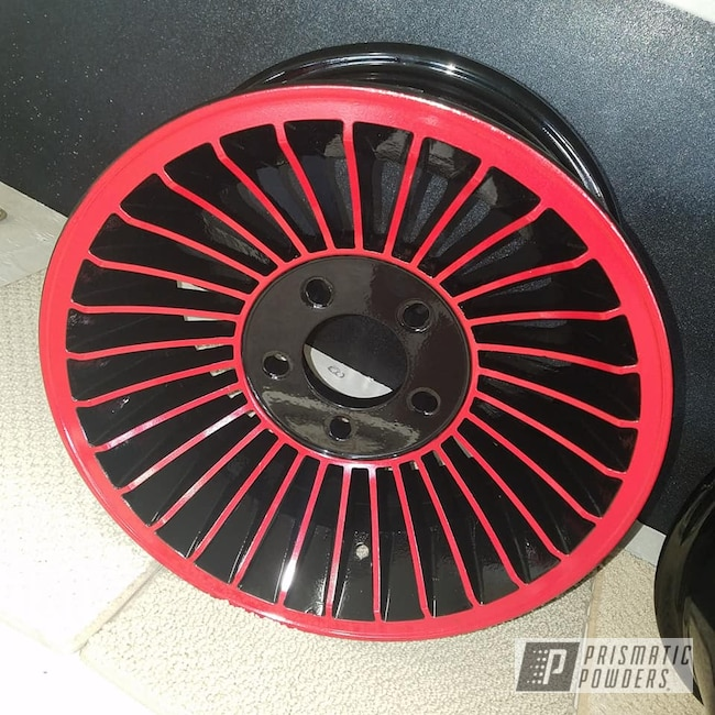 Powder Coating: Wheels,Automotive,2 Color Application,Custom Wheels,Ink Black PSS-0106,RAL 3002 RAL-3002,Aluminum Rim