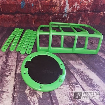 Trim Pieces For A Jeep In A Limelite Powder Coat