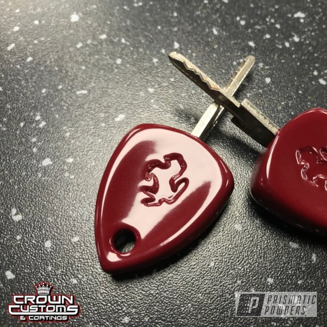 Powder Coated Ferrari Keys Refinished In Royal Maroon
