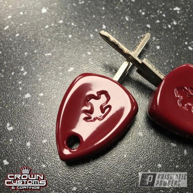 Powder Coated Ferrari Keys Refinished In Royal Maroon