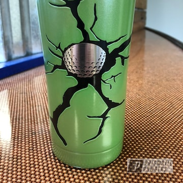Powder Coated 20oz Tumbler Coated In Sunrise Green And Black Jack