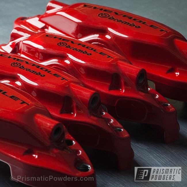 Powder Coating: Automotive,Custom Brembo Brake Calipers,Clear Vision PPS-2974,Really Red PSS-4416,Chevy Brakes,Camaro SS Brake Calipers