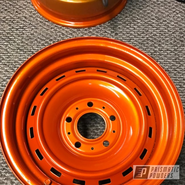 Powder Coating: Automotive,Clear Vision PPS-2974,15inch,Chevrolet,Illusion Orange PMS-4620,Steel Rims