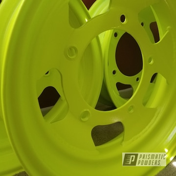 Neon Yellow Powder Coated Wheels