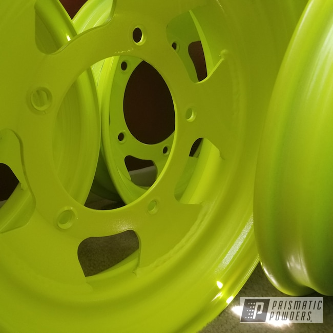 Powder Coating: Wheels,Automotive,Clear Vision PPS-2974,Neon Yellow PSS-1104