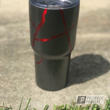 Tumbler 30 Oz Powder Coated In A Red And Textured Silver Finish