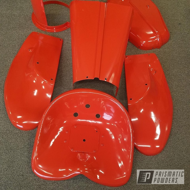 Powder Coating: Tractor Parts,Allis Chalmers,Farm,Cabot Orange PSS-1429,Implement