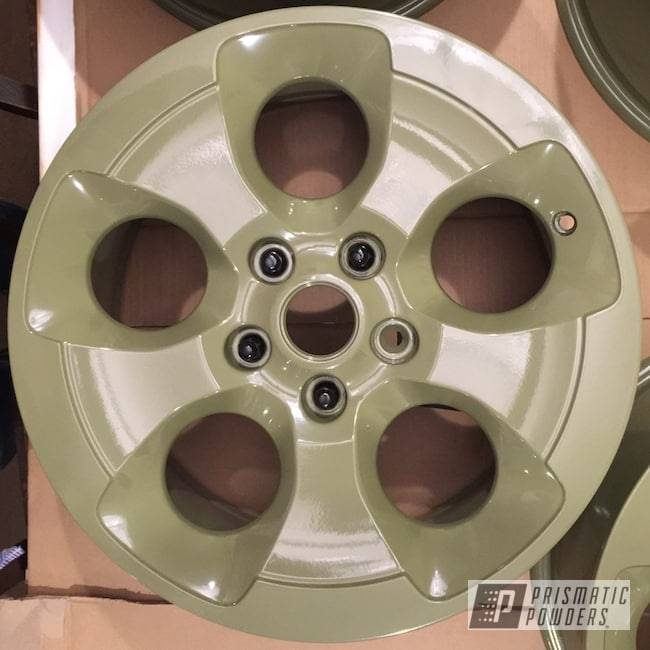 Powder Coating: Color Match,Automotive,Custom Wheels,Powder Coated Jeep Wheels,Jeep,Jeep Wheels,Arney Green PSB-6858,18inch