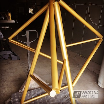 Powder Coated Sculpture In Gold Bar Gold