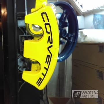 Powder Coated Yellow Chevrolet Corvette Brakecalipers