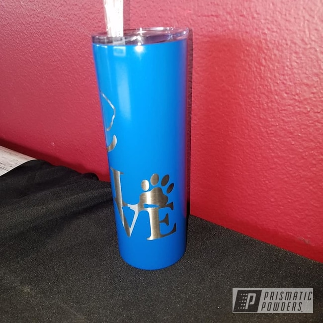 Powder Coating: Brazilian Blue PMB-0770,Custom Cups,Drinkware,Dogs,20oz Tumbler