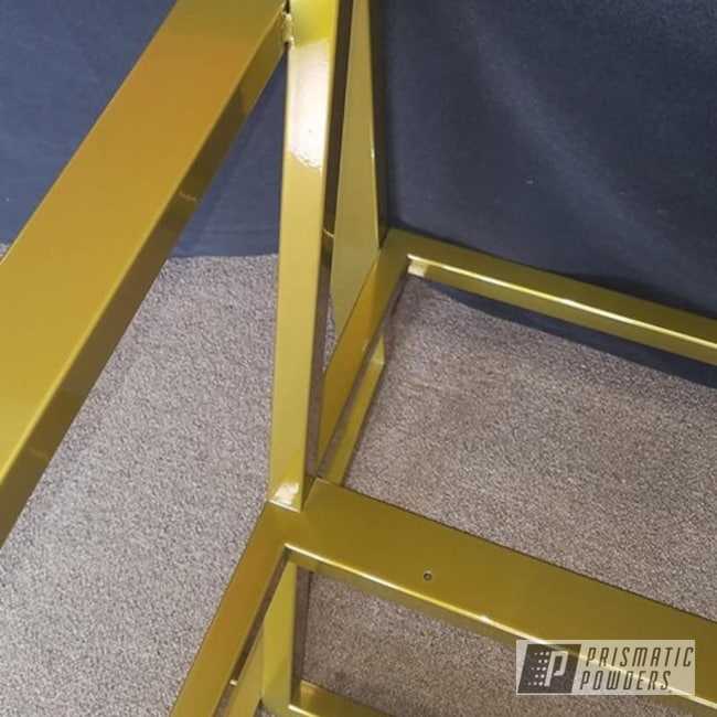 Powder Coating: Custom Furniture,Transparent,SUPER CHROME USS-4482,Two Stage Application,Buttered Brass PPS-1547,chair