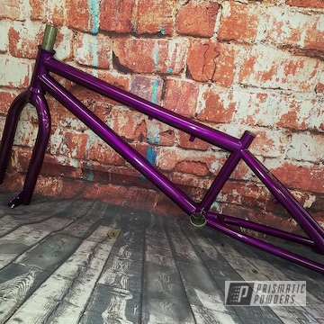 Powder Coated Bicycle Frame In Purple