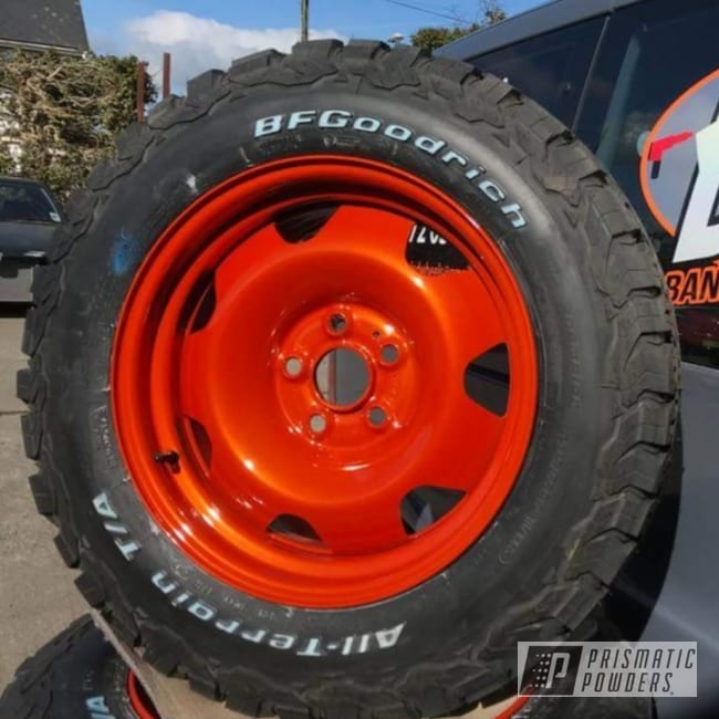 Powder Coating: Wheels,Automotive,Clear Vision PPS-2974,17s,17inch,VW T6,Illusion Orange PMS-4620