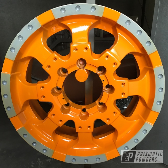 Powder Coating: Wheels,Automotive,Clear Vision PPS-2974,Juju Orange PSS-1791