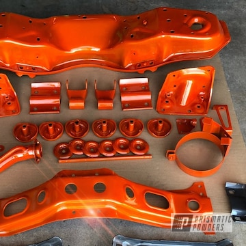 Powder Coated Auto Parts In Illusion Tangerine Twist