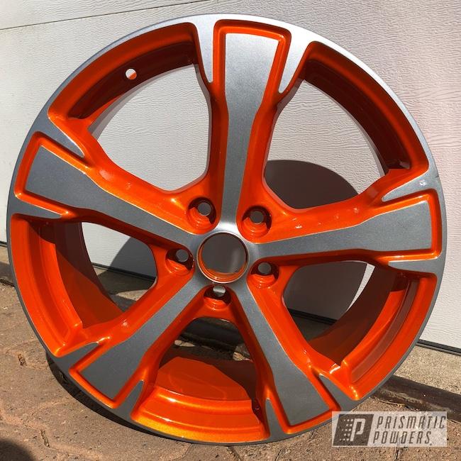 "Powder Coating: Wheels,BMW Silver PMB-6525,Automotive,Clear Vision PPS-2974,16"" Alloy Wheel,Illusion Tangerine Twist PMS-6964"