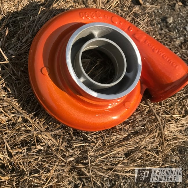 Powder Coating: Automotive,Turbo Housing,Clear Vision PPS-2974,Illusion Orange PMS-4620