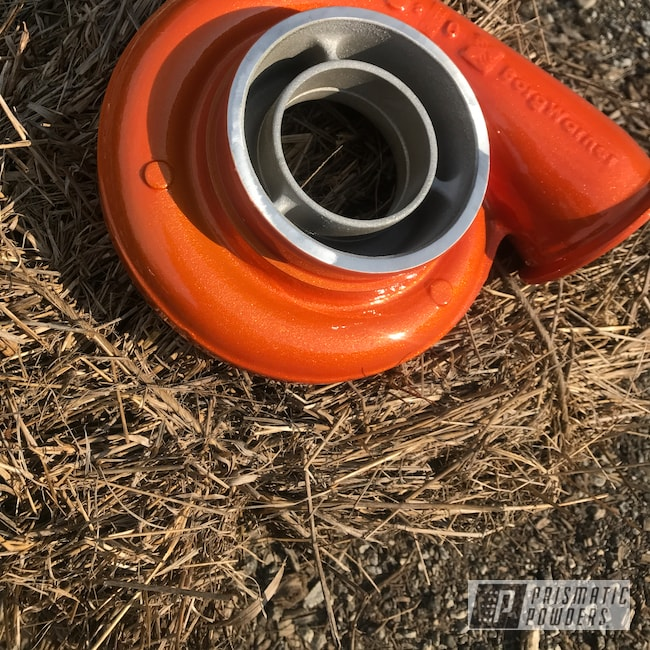 Powder Coating: Automotive,Turbo Housing,Clear Vision PPS-2974,Illusion Orange PMS-4620