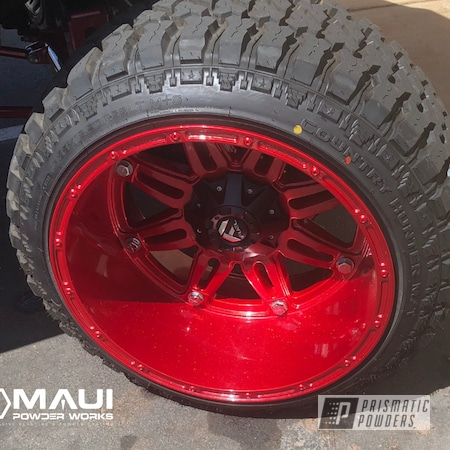 Powder Coating: Wheels,Automotive,Monster Truck,Rims,Fuelforged,TRD,TwoCoat,Toyota,Tacoma,DIAMOND RED UPB-5019