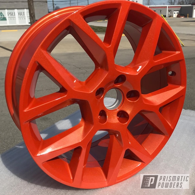 Powder Coating: Wheels,Automotive,Clear Vision PPS-2974,Custom Powder Coated Rims,Illusion Orange PMS-4620