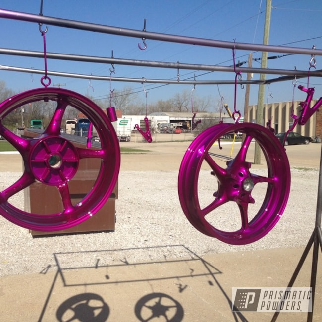 Powder Coating: Clear Vision PPS-2974,Custom Wheels,Motorcycle Parts,Illusion Violet PSS-4514