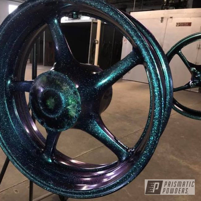 Powder Coating: Clear Vision PPS-2974,Motorcycle Rims,Chameleon Teal PPB-5733,Motorcycles