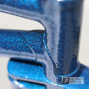Powder Coated Blue And Silver Bicycle Frame