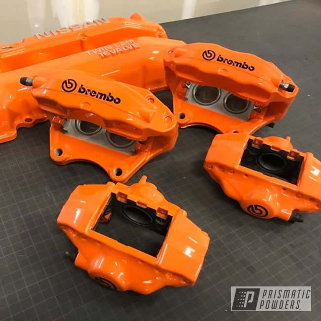 Powder Coating: Automotive,Calipers,Clear Vision PPS-2974,Brembo,Brembo Brake Calipers,Bright Orange PSS-0879