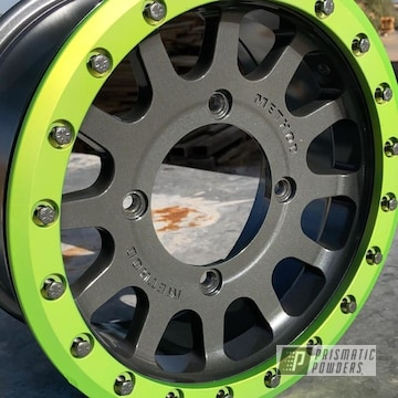 Powder Coated Green And Grey Rzr Wheels