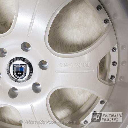 Powder Coating: Wheels,Automotive,Powder Coated Automotive Wheels,Escalade White PMB-5977,Asanti Wheel Restoration,Diamond Pearl Clear PPB-6631
