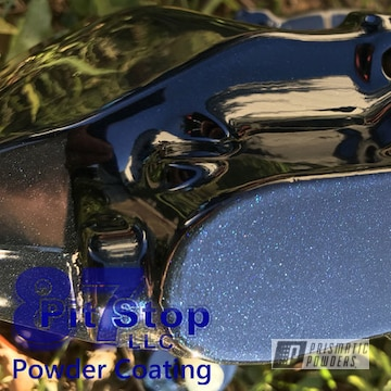 Brake Calipers With A Blue Metallic Powder Coat