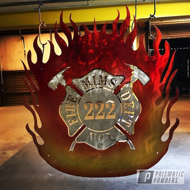 Powder Coating: YELLOW GOLD UPB-5271,LOLLYPOP RED UPS-1506,Fire,Orange Sherbert Sparkle PPB-8042,Custom Signs,#orangecontest,Sign,Metal Sign