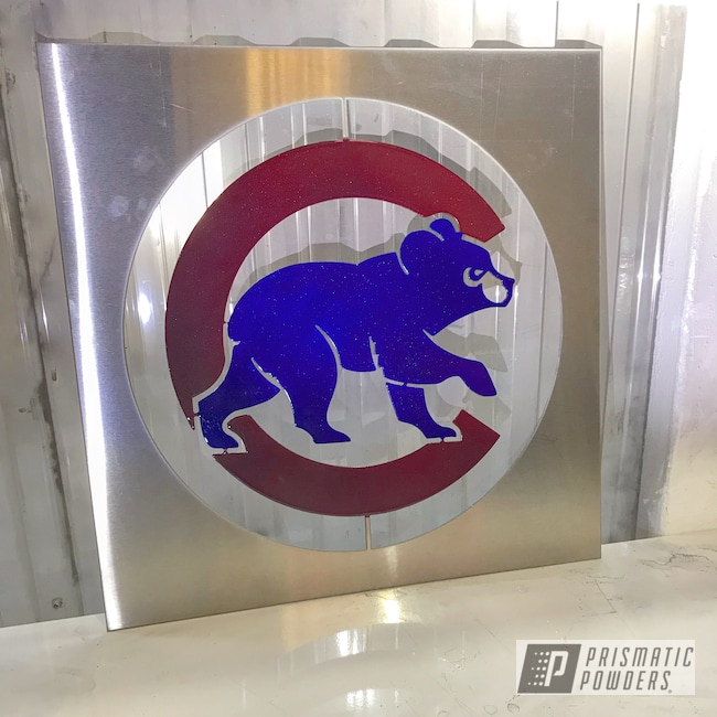 Powder Coating: Clear Vision PPS-2974,Baseball,Illusion Cherry PMB-6905,Sign,Chicago Cubs,Illusion Royal PMS-6925,Baseball Theme,Sports,MLB Baseball Theme