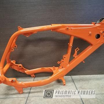 Orange Powder Coated Motorcycle Frame