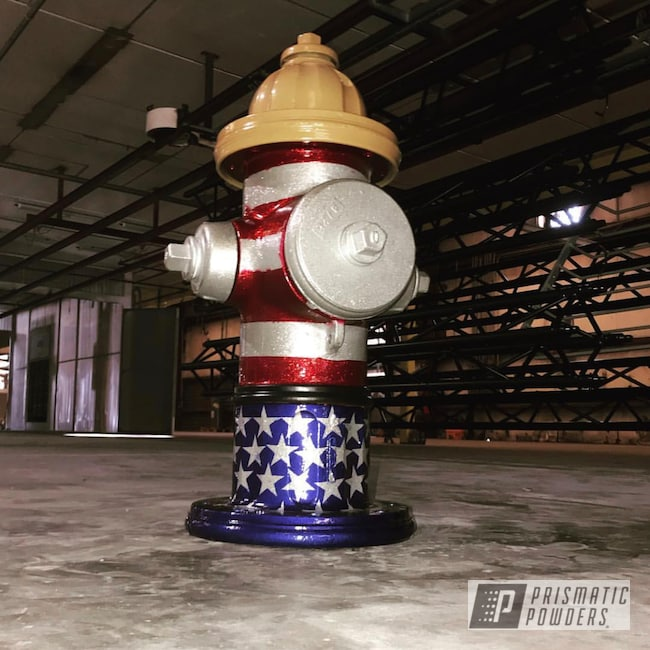 Powder Coating: Goldtastic PMB-6625,Clear Vision PPS-2974,Powder Coated Fire Hydrant,USA,Illusion Cherry PMB-6905,Art,Illusion Royal PMS-6925,American