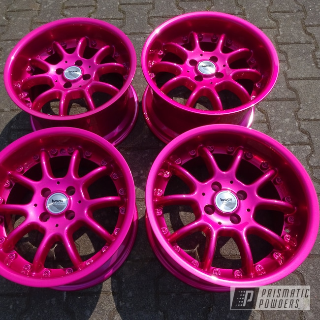 Powder Coating: Wheels,Automotive,Clear Vision PPS-2974,Illusion Pink PMB-10046,Powder Coat Wheels
