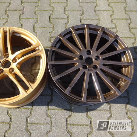 Powder Coating: Wheels,Automotive,Clear Vision PPS-2974,TRIPLE BRONZE UMB-4548,Vegas Nutmeg PMB-4303,Powder Coat Wheels