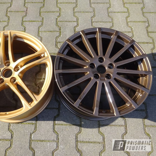 Powder Coating: Wheels,Automotive,Clear Vision PPS-2974,TRIPLE BRONZE UMB-4548,Vegas Nutmeg PMB-4303,Powder Coat Wheels