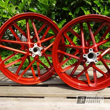Orange Red Powder Coated Harley Davidson Rims