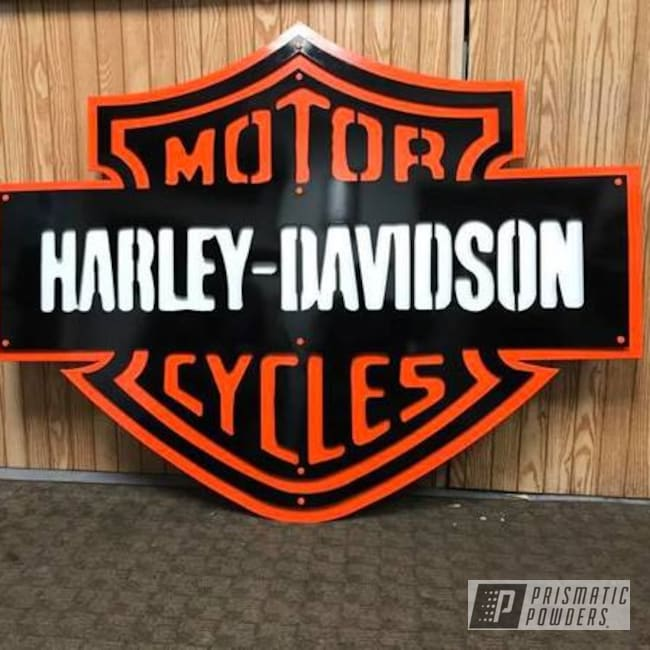 Powder Coating: Harley Davidson,Ink Black PSS-0106,Polar White PSS-5053,Custom Sign,M&M ORANGE PSS-5678,Metal Sign