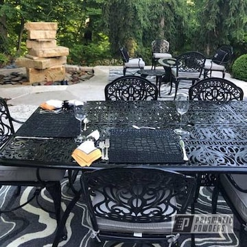 Custom Patio Furniture Powder Coated In Ink Black