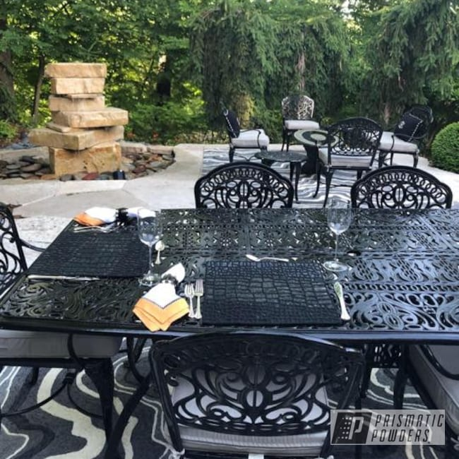 Powder Coating: Patio Furniture,Ink Black PSS-0106,Custom Patio Furniture,Custom Outdoor Patio Furniture,Furniture