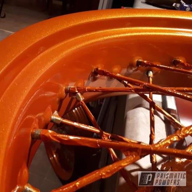 Powder Coating: Wheels,Clear Vision PPS-2974,KTM Wheels,KTM,Custom Motorcycle Parts,Motorcycle Parts,Motorcycles,Illusion Orange PMS-4620,690smc