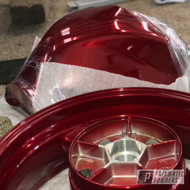 Powder Coating: SUPER CHROME USS-4482,Custom Motorcycle Wheels,Red,GSXR,Custom Motorcycle Tank,Suzuki,Motorcycles,Rancher Red PPB-6415