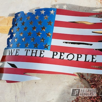 Powder Coated Metal We The People American Flag