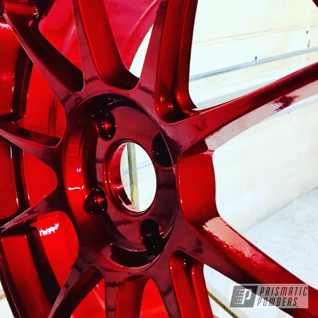 Powder Coating: Wheels,Automotive,SUPER CHROME USS-4482,Aluminum Wheel,Ford,Rancher Red PPB-6415