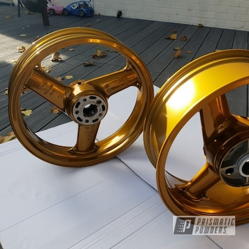 Brassy Gold Powder Coated Motorcycle Wheels